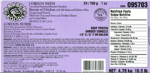 Barber Foods brand uncooked stuffed chicken recalled