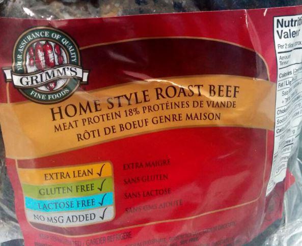 Grimm's Fine Foods brand Home Style Roast Beef recalled