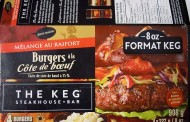 The Keg brand Horseradish Blended Prime Rib Beef Burgers recalled
