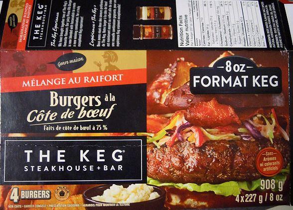 The Keg brand Horseradish Blended Prime Rib Beef Burgers ...