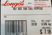 Longo's brand Hot Red Thai Chili Peppers recalled