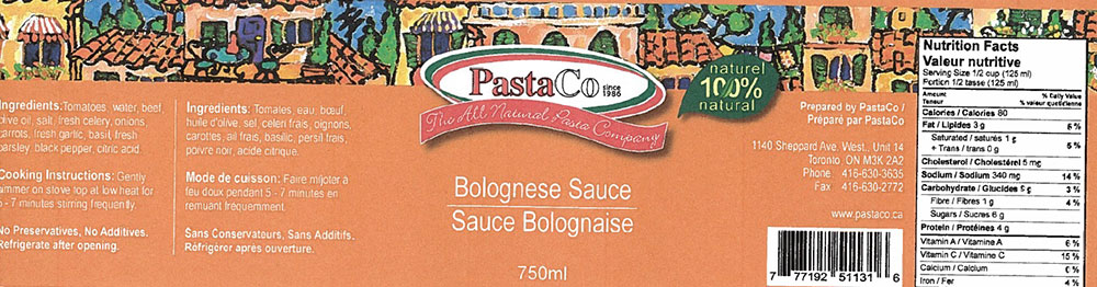 PastaCo brand Bolognese Sauce recalled due to potential presence of dangerous bacteria