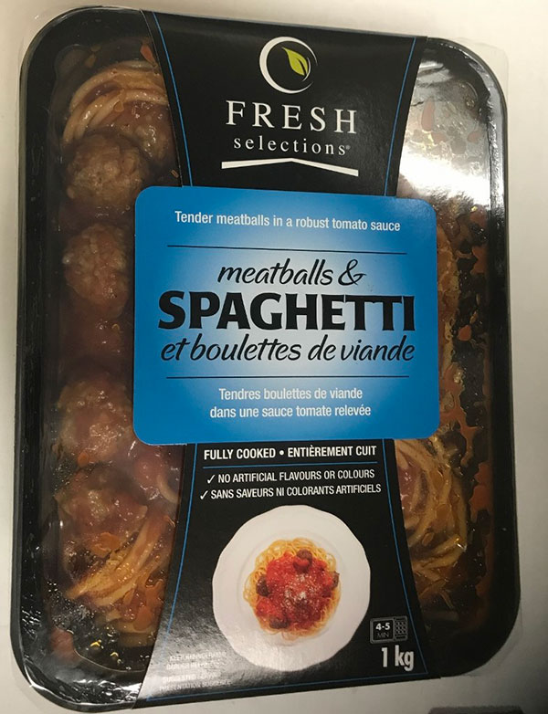 Fresh Selections brand Meatballs & Spaghetti recalled due to undeclared milk