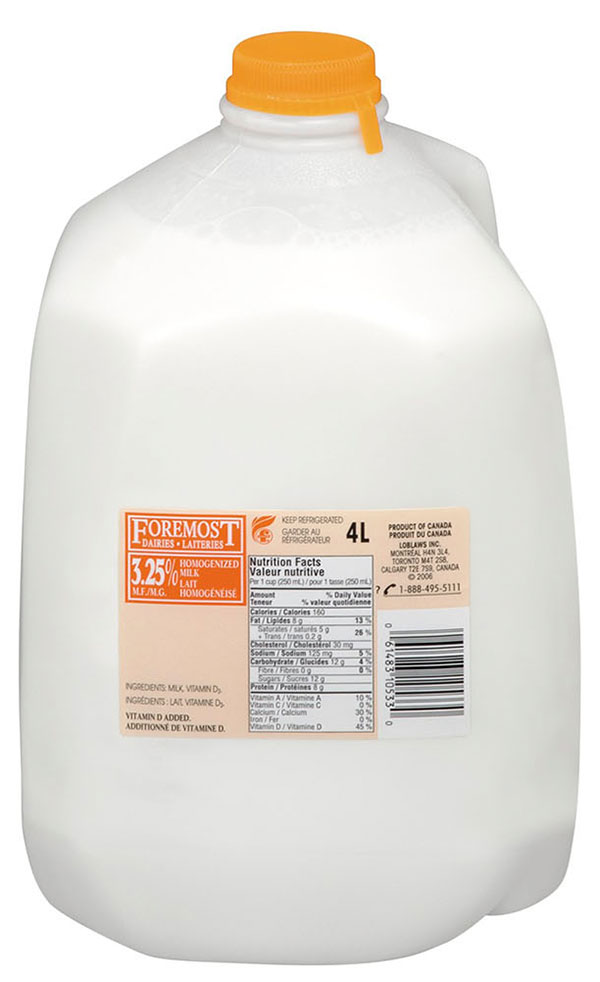 Foremost brand milk products recalled due to possible presence of sharp metal objects