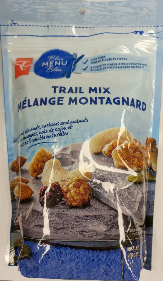 Food Recall Warning (Allergen)-President's Choice® Blue Menu Trail Mix recalled due to undeclared wheat and soy