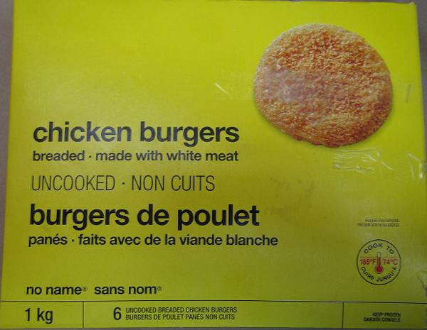 Certain no name brand Chicken Burgers recalled