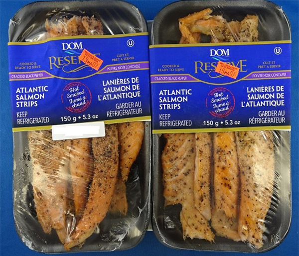 Food Recall Warning DOM RESERVE brand Atlantic Salmon Strips (Hot Smoked) Cracked Black Pepper recalled due to Listeria monocytogenes