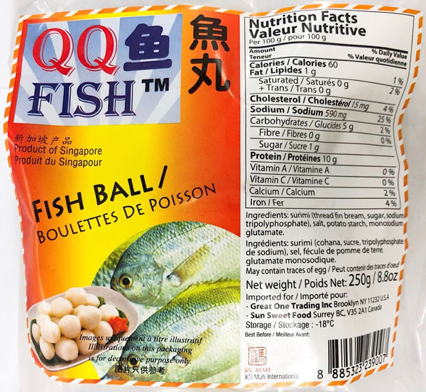 Updated Food Recall Warning (Allergen) - QQ Fish brand Fish Balls, Fish Cakes, and Seafood Balls recalled due to undeclared egg