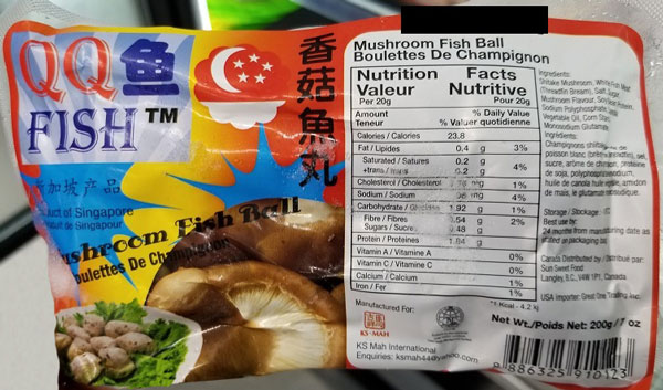 Updated Food Recall Warning (Allergen) - QQ Fish brand Mushroom Fish Ball due to undeclared egg