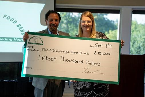 Rabba Fine Foods Presents ceremonial cheque of $15,000 to  Mississauga Food Bank at 24th Annual Rabba golf Tournament