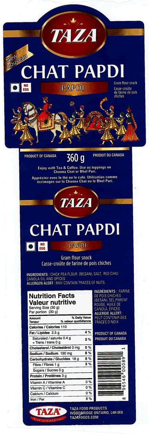 CFIA/ACIA Food Recall Warning (Allergen) - Taza brand Chat Papdi – Gram Flour Snack recalled due to undeclared wheat
