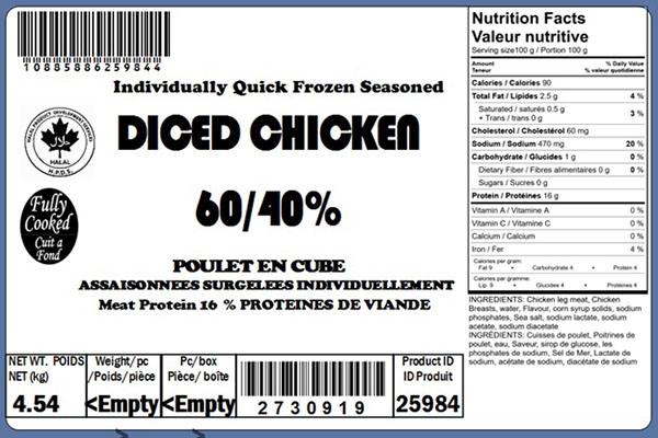 Food Recall Warning - Various imported cooked diced chicken meat products recalled due to Listeria monocytogenes