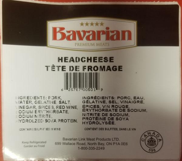 Food Recall Warning (Allergen) - Bavarian Premium Meats brand Headcheese recalled due to undeclared mustard