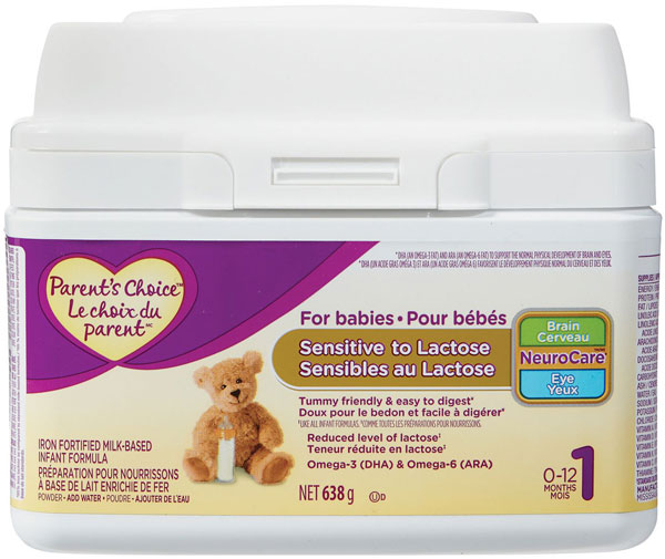 Updated Food Recall Warning - Parent's Choice brand Infant Formula for Babies Sensitive to Lactose recalled due to Cronobacter spp.