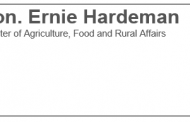 Letter from the Honourable Ernie Hardeman, Minister of Agriculture, Food and Rural Affairs