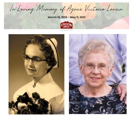 Passing of Agnes Victoria Lovsin